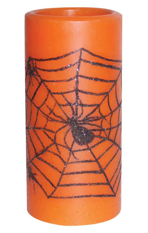 spinnennetz kerze mit led beleuchtung kaufe dir jetzt die led halloween deko karneval universe. Black Bedroom Furniture Sets. Home Design Ideas
