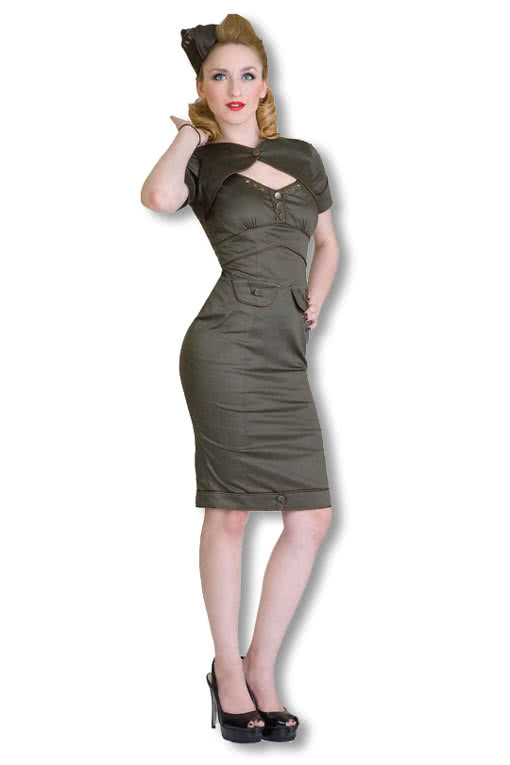 military kleid khaki rockabilly kleid 50er jahre kleid karneval universe. Black Bedroom Furniture Sets. Home Design Ideas