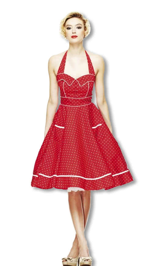 neckholder polka dot kleid rot rockabilly kleid 50er jahre kleid karneval universe. Black Bedroom Furniture Sets. Home Design Ideas