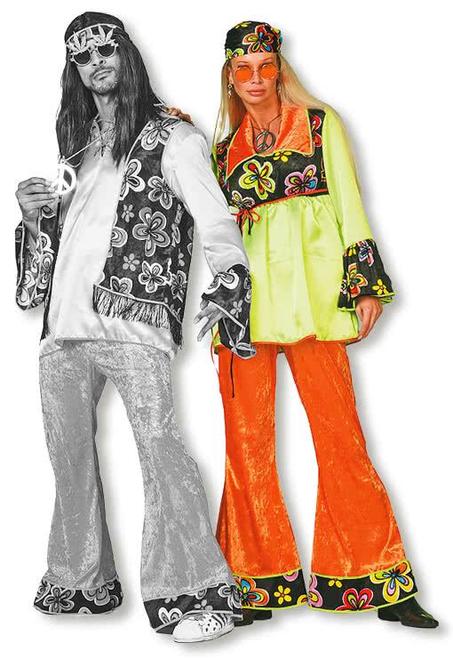 blumenkind damen kost m m 38 damen hippie kost m in gr n schwarz und orange karneval universe. Black Bedroom Furniture Sets. Home Design Ideas