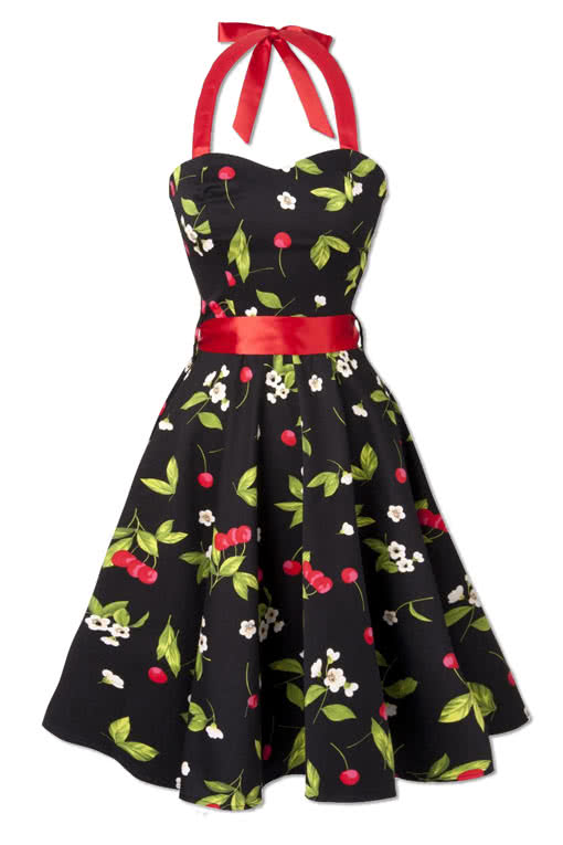 retro look neckholder kleid cherry blossom rockabilly kleid g nstig kaufen karneval universe. Black Bedroom Furniture Sets. Home Design Ideas