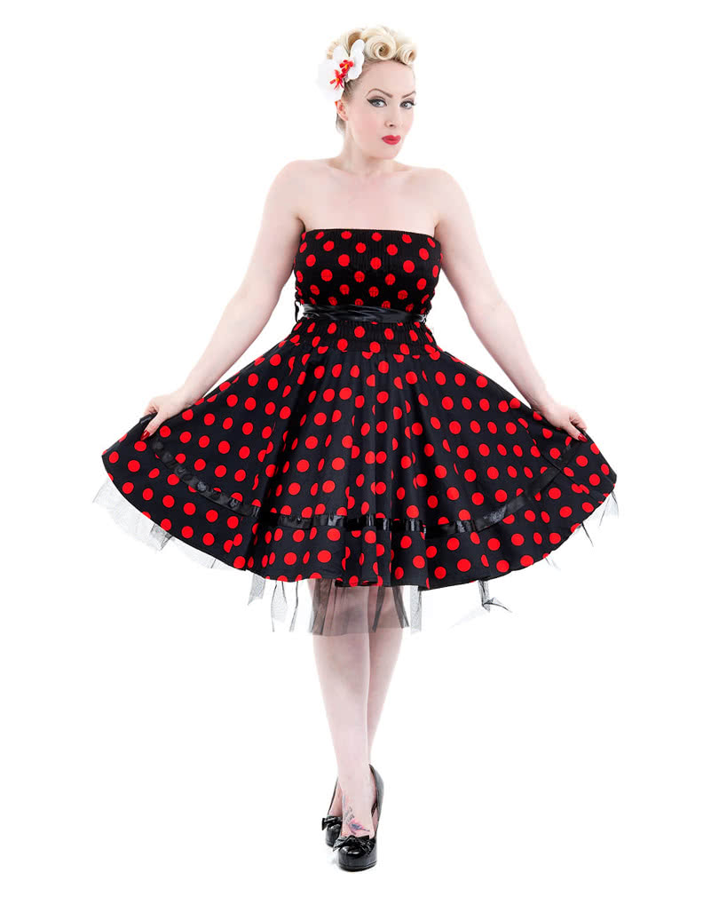 50er jahre bandeau kleid polka dot kleid petticoat kleid karneval universe. Black Bedroom Furniture Sets. Home Design Ideas