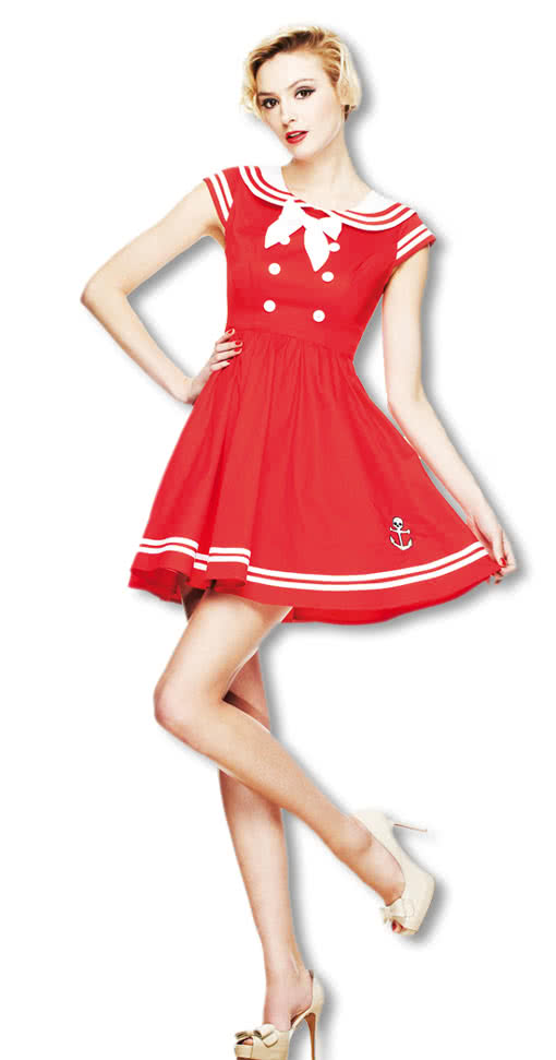 sailor minikleid rot matrosenkleid pin up kleid karneval universe. Black Bedroom Furniture Sets. Home Design Ideas