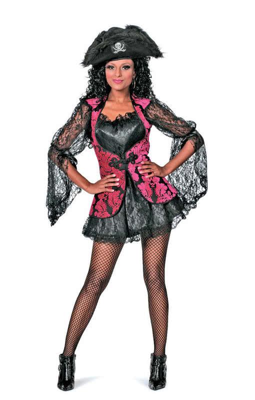 sexy piratenbraut schwarz pink f r fasching karneval. Black Bedroom Furniture Sets. Home Design Ideas