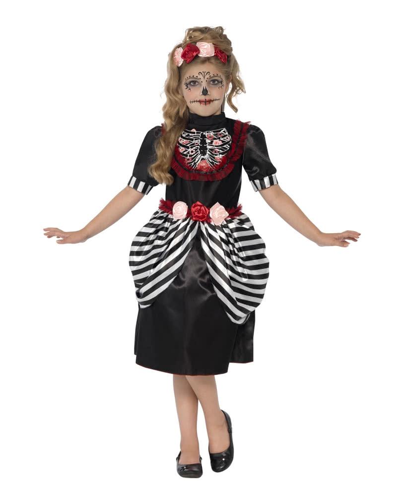 tag der toten kleid f r m dchen sugar skull kinderkost m karneval universe. Black Bedroom Furniture Sets. Home Design Ideas