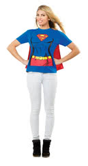 xl supergirl t shirt mit cape heldinen outfit mit umhang. Black Bedroom Furniture Sets. Home Design Ideas