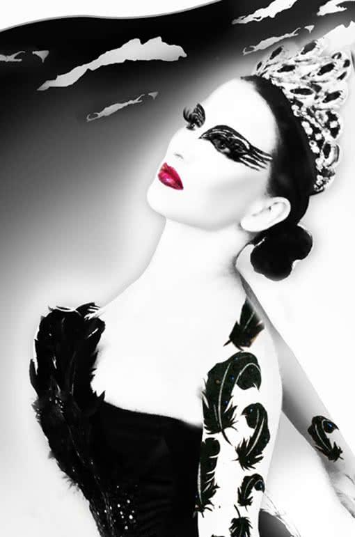 body art tattoo black swan schwarze feder klebetattoo. Black Bedroom Furniture Sets. Home Design Ideas