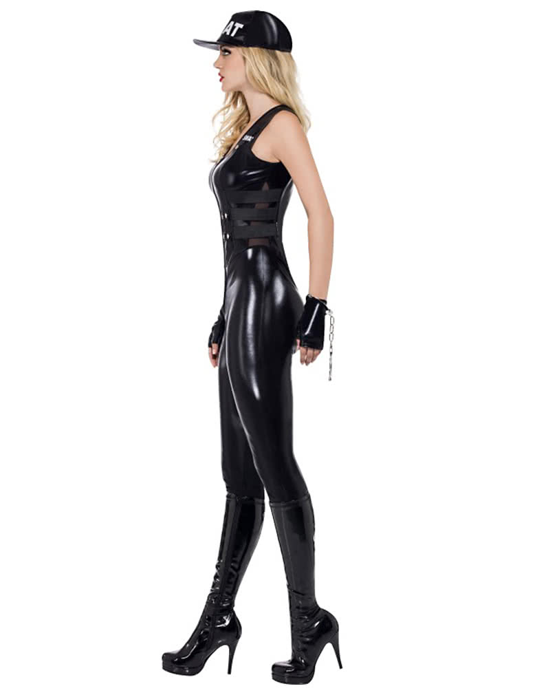 sexy swat jumpsuit kost m schwarzes agentin lackkost m karneval universe. Black Bedroom Furniture Sets. Home Design Ideas