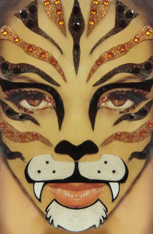 xotic eyes tiger make up set schminke zum aufkleben karneval universe. Black Bedroom Furniture Sets. Home Design Ideas