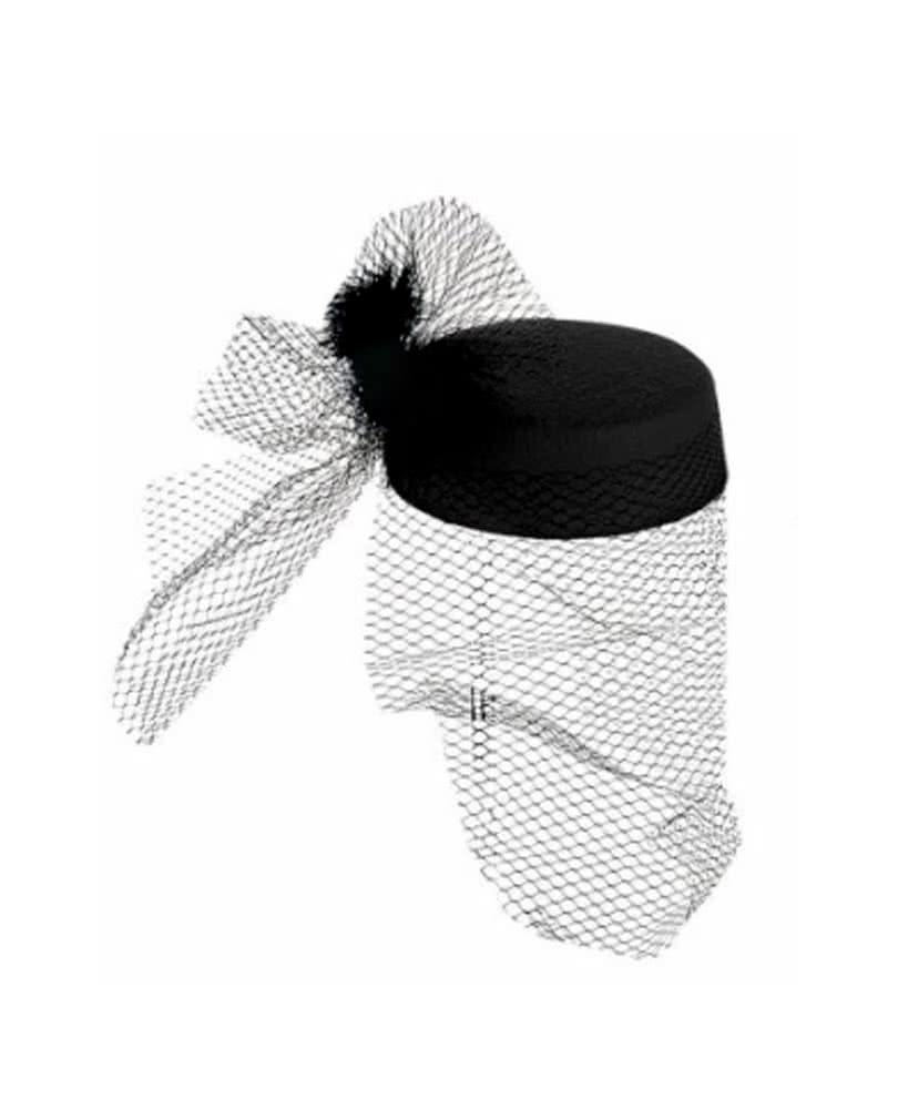 pillbox hut jackie schwarz mit federn f r fasching karneval universe. Black Bedroom Furniture Sets. Home Design Ideas